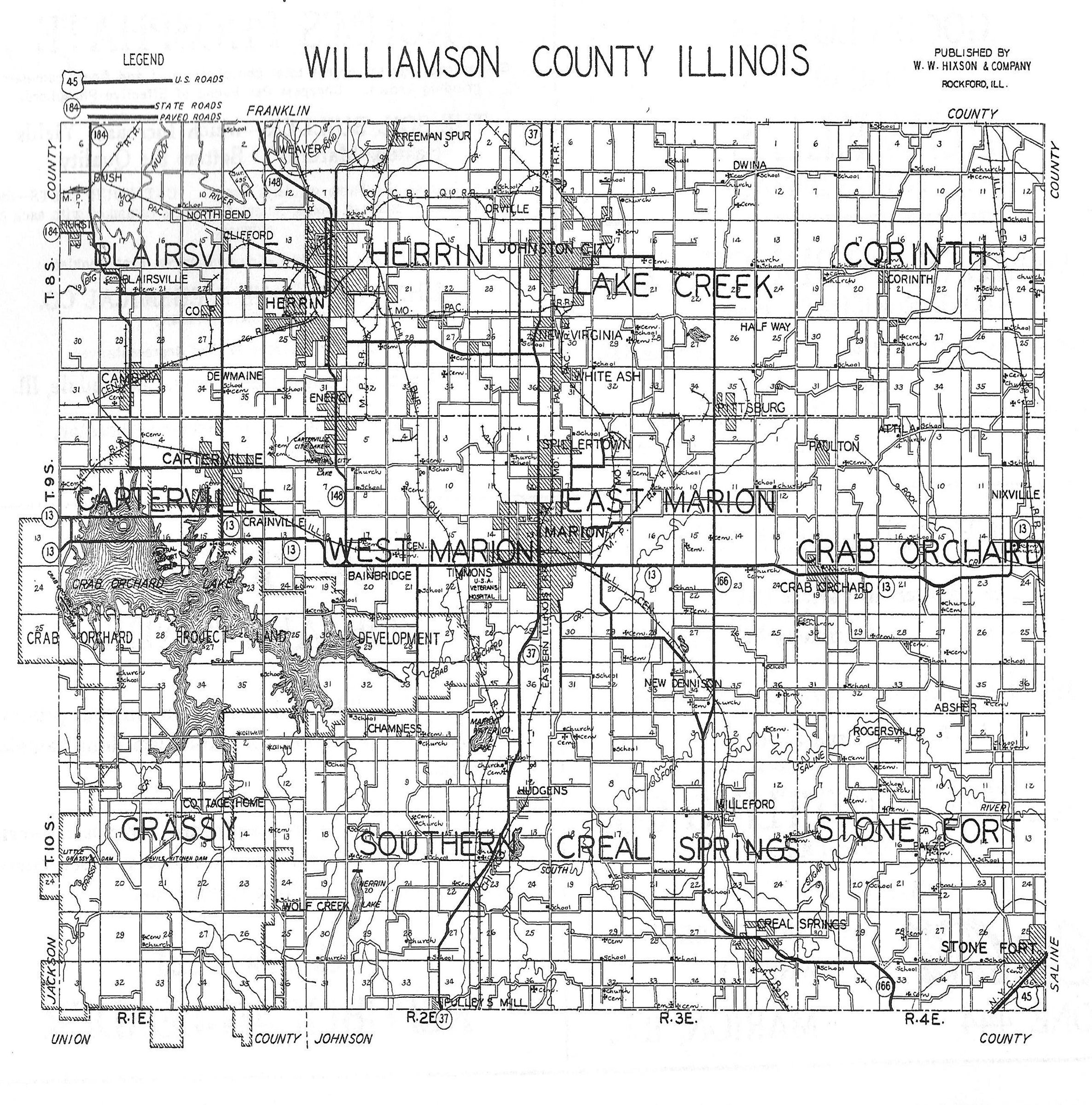 county plat map.  williamson county plat maps  marion illinois history