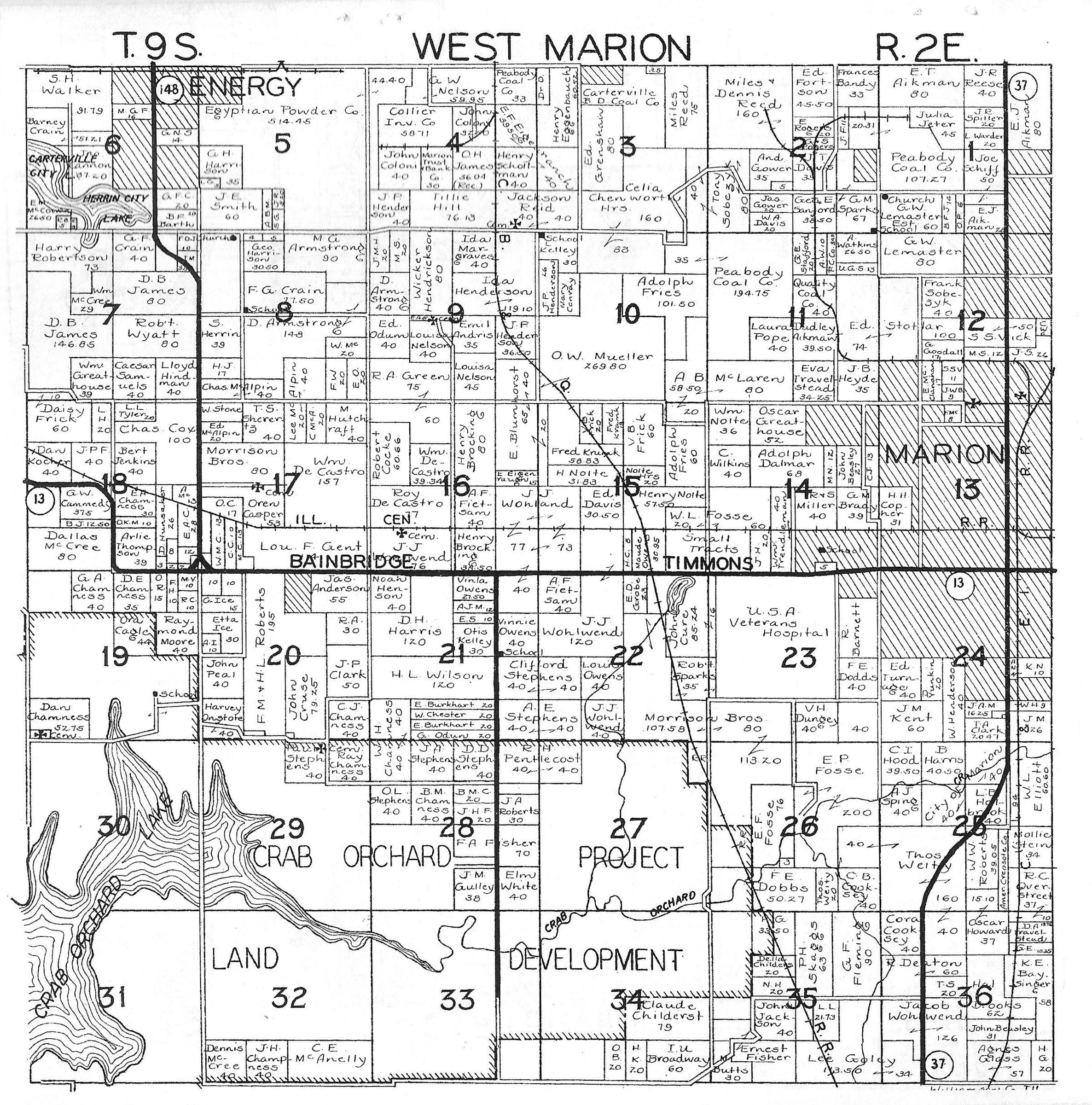 township  range .  williamson county plat maps  marion illinois history