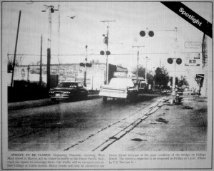 Railroad Crossing on W. Main St. March ,1988