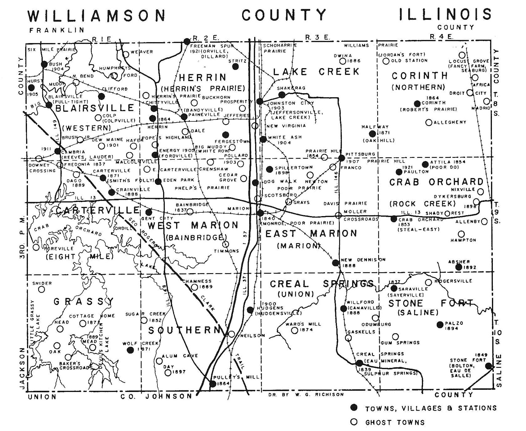 Ghost town map of Williamson County small   Marion Illinois ... on map of marion ohio, mapquest marion il, marion city il, map of marion indiana, map of central falls ri,